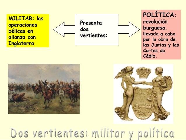 POLÍTICA: revolución burguesa, llevada a cabo por la obra de las Juntas y las Cortes de Cádiz. MILITAR: las operaciones bé...