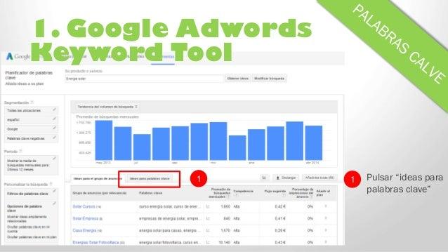 """1. Google Adwords Keyword Tool 1 Pulsar """"ideas para palabras clave"""" 1"""