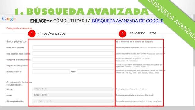 1. BÚSQUEDA AVANZADA ENLACE=> CÓMO UTLIZAR LA BÚSQUEDA AVANZADA DE GOOGLE Filtros Avanzados Explicación Filtros21