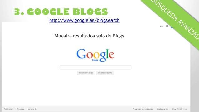 3. GOOGLE BLOGS Muestra resultados solo de Blogs http://www.google.es/blogsearch