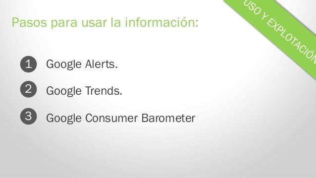 Google Alerts. Pasos para usar la información: 1 Google Trends. Google Consumer Barometer 2 3