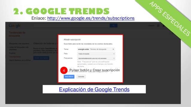 2. GOOGLE TRENDS 4 Pulsar botón y Crear suscripción Enlace: http://www.google.es/trends/subscriptions Explicación de Googl...