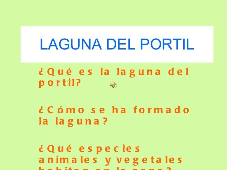LAGUNA DEL PORTIL ¿Qué es la laguna del portil? ¿Cómo se ha formado la laguna? ¿Qué especies animales y vegetales habitan ...