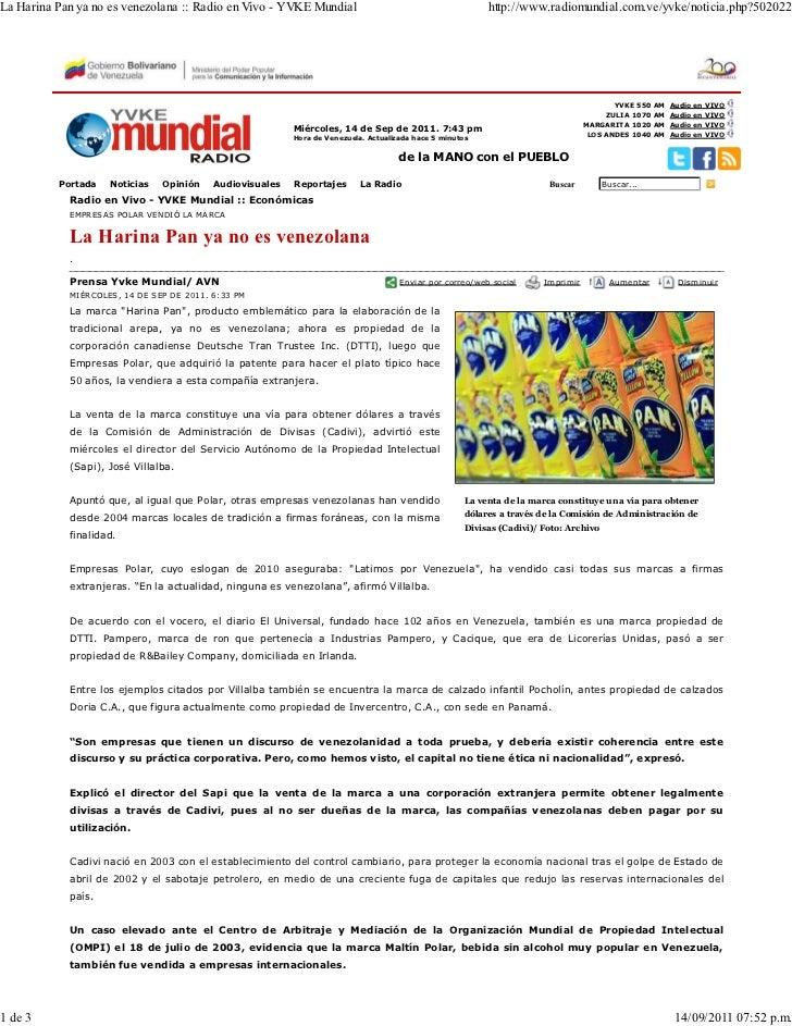 La Harina Pan ya no es venezolana :: Radio en Vivo - YVKE Mundial                                         http://www.radio...
