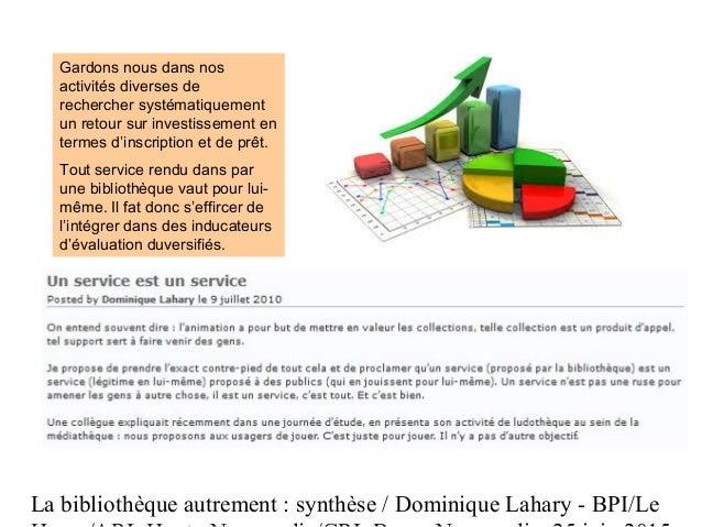 La bibliothèque autrement : synthèse / Dominique Lahary - BPI/Le Gardons nous dans nos activités diverses de rechercher sy...