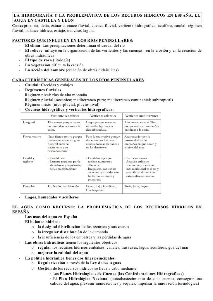 LA HIDROGRAFÍA Y LA PROBLEMÁTICA DE LOS RECUROS HÍDRICOS EN ESPAÑA. EL AGUA EN CASTILLA Y LEÓNConceptos: ría, delta, estua...