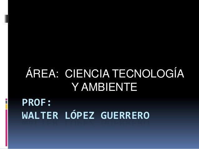ÁREA: CIENCIA TECNOLOGÍA        Y AMBIENTEPROF:WALTER LÓPEZ GUERRERO