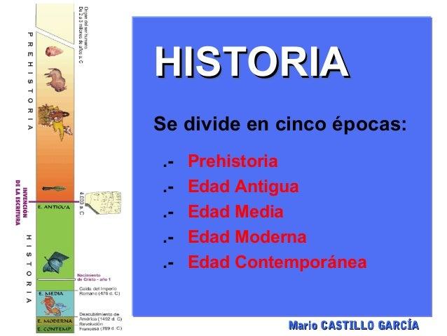 HISTORIASe divide en cinco épocas:.-   Prehistoria.-   Edad Antigua.-   Edad Media.-   Edad Moderna.-   Edad Contemporánea...