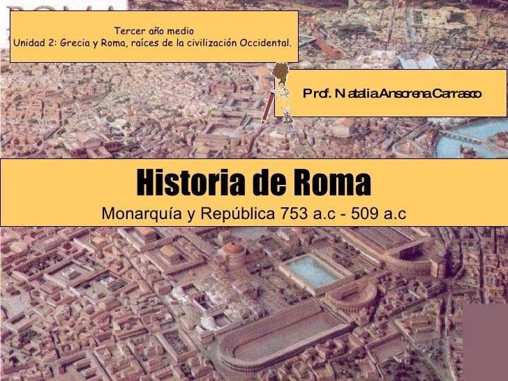 Tercer año medio Unidad 2: Grecia y Roma, raíces de la civilización Occidental.  Historia de Roma Monarquía y República 75...