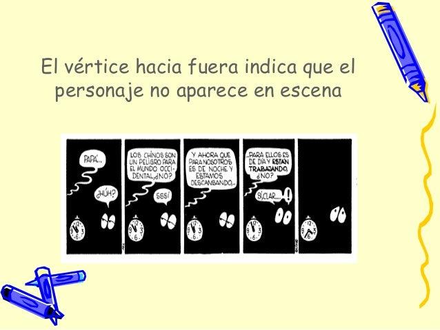 • Un bocadillo incluido en otro bocadilloindica las pausas que hace el personaje.• Cuando aparecen varios vértices el text...