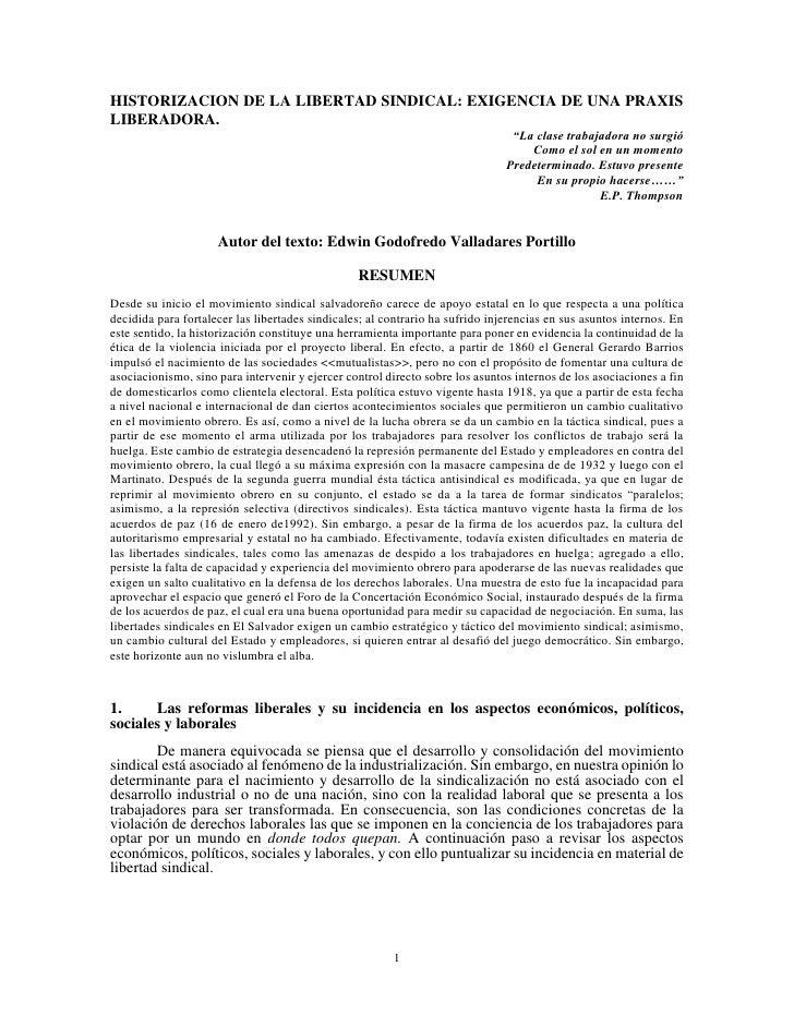 HISTORIZACION DE LA LIBERTAD SINDICAL: EXIGENCIA DE UNA PRAXISLIBERADORA.                                                 ...