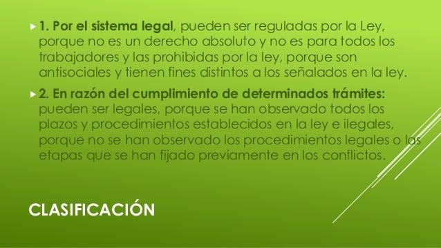 CLASIFICACIÓN 1. Por el sistema legal, pueden ser reguladas por la Ley, porque no es un derecho absoluto y no es para tod...