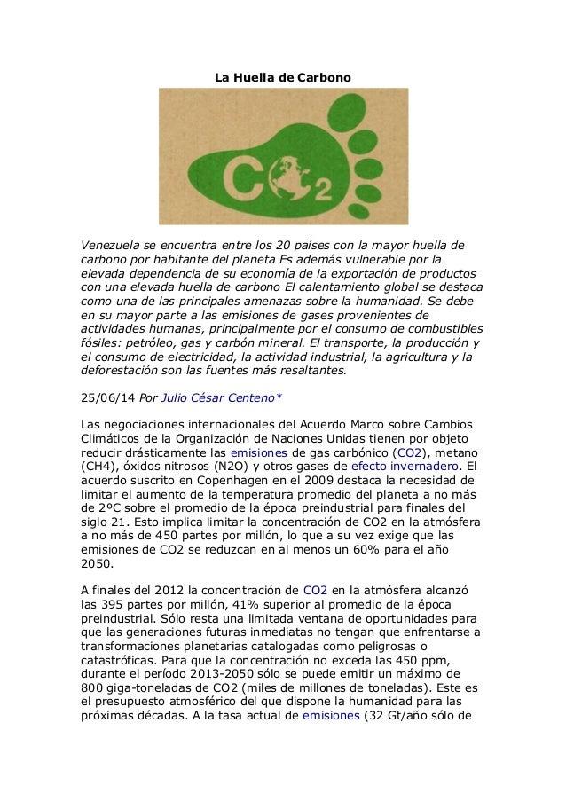 La Huella de Carbono Venezuela se encuentra entre los 20 países con la mayor huella de carbono por habitante del planeta E...