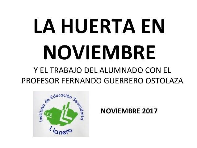 LA HUERTA EN NOVIEMBRE NOVIEMBRE 2017 Y EL TRABAJO DEL ALUMNADO CON EL PROFESOR FERNANDO GUERRERO OSTOLAZA