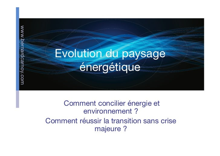 www.bernardcarnoy.com                          Evolution du paysage                              énergétique              ...