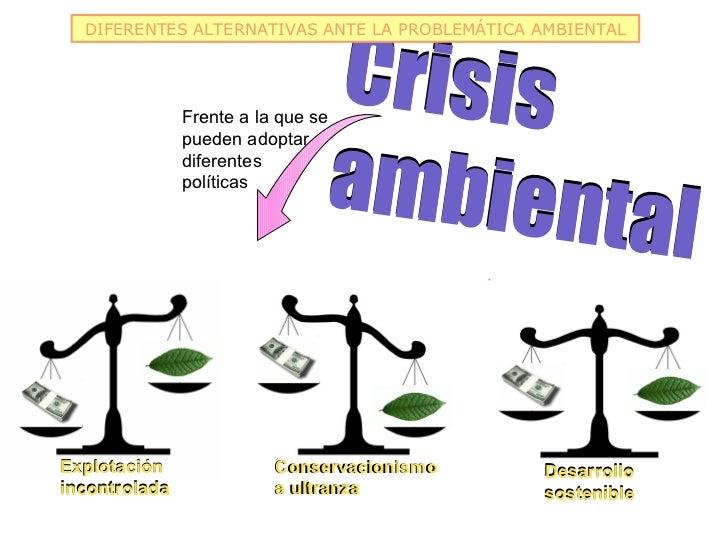 Crisis  DIFERENTES ALTERNATIVAS ANTE LA PROBLEMÁTICA AMBIENTAL               Frente a la que se                           ...
