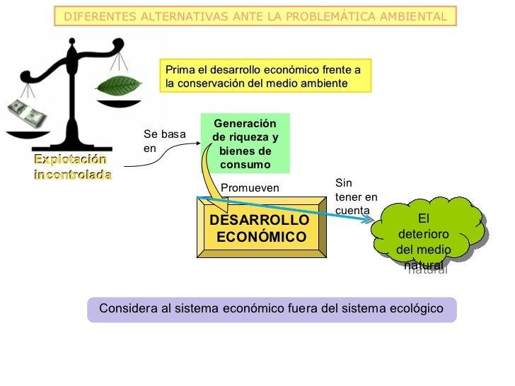 DIFERENTES ALTERNATIVAS ANTE LA PROBLEMÁTICA AMBIENTAL                     Prima el desarrollo económico frente a         ...