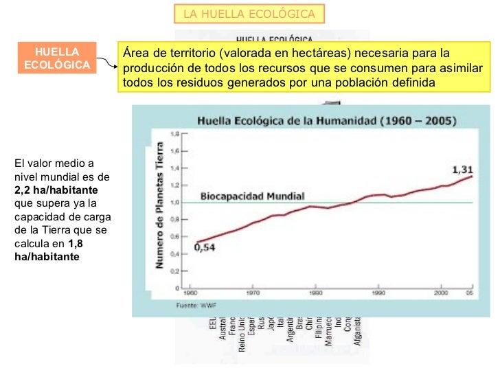 LA HUELLA ECOLÓGICA  HUELLA              Área de territorio (valorada en hectáreas) necesaria para la ECOLÓGICA           ...