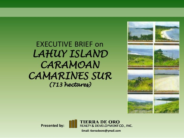 EXECUTIVE BRIEF on  LAHUY ISLAND CARAMOAN CAMARINES SUR (713 hectares)  Presented by: Email: tierradeoro@ymail.com