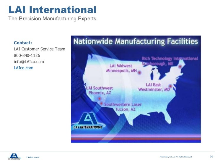 Lai international a manufacturing capabilities overview for Dfma template