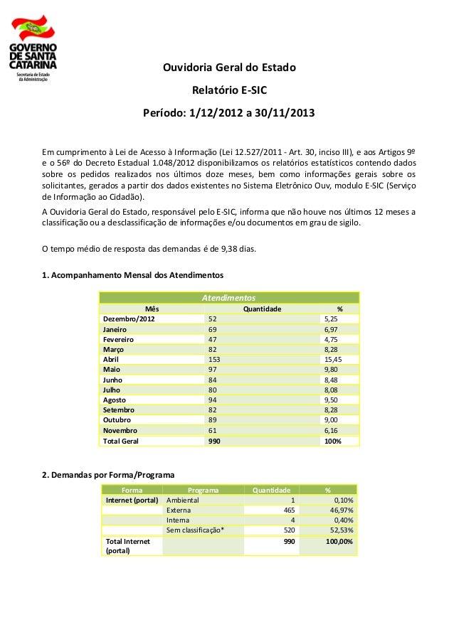Ouvidoria Geral do Estado Relatório E-SIC Período: 1/12/2012 a 30/11/2013 Em cumprimento à Lei de Acesso à Informação (Lei...