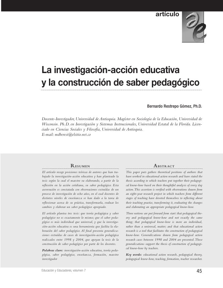 artículo     La investigación-acción educativa y la construcción de saber pedagógico                                      ...