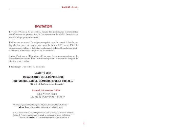 GAUCHE Avenir                                       INVITATION Il y aura 50 ans le 31 décembre, malgré les nombreuses et i...