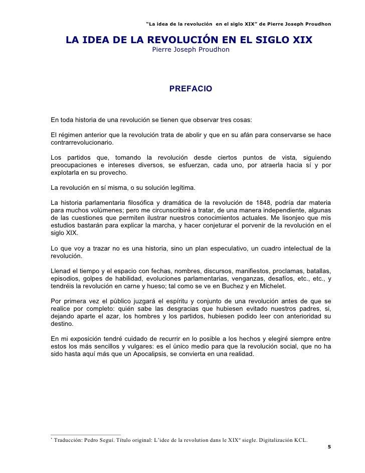 """""""La idea de la revolución en el siglo XIX"""" de Pierre Joseph Proudhon           LA IDEA DE LA REVOLUCIÓN EN EL SIGLO XIX*  ..."""