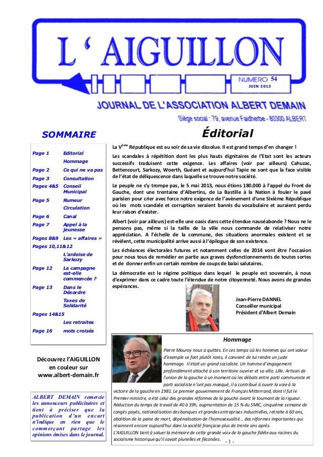 JUIN 201354Page 1 EditorialHommagePage 2 Ce qui ne va pasPage 3 ConsultationPages 4&5 ConseilMunicipalPage 5 RumeurCircula...