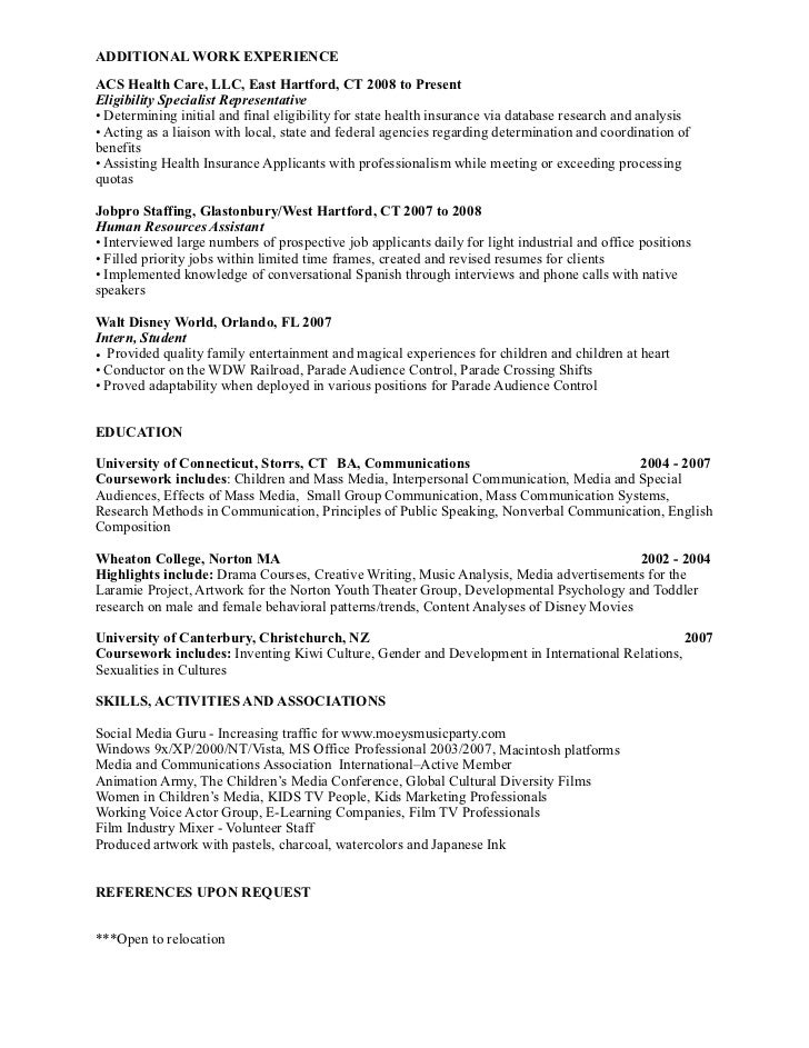 2 additional work experienceacs - Professional Work Resume