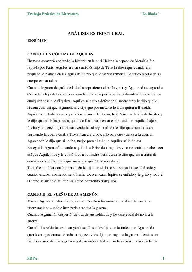 Trabajo Práctico de Literatura ¨ La Iliada ¨ SRPA 1 ANÁLISIS ESTRUCTURAL RESÚMEN CANTO I LA CÓLERA DE AQUILES Homero comen...