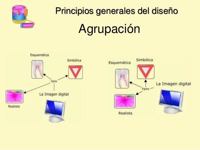 Principios generales del diseño Agrupación La visión tiende a agrupar los objetos cercanos o con rasgos comunes