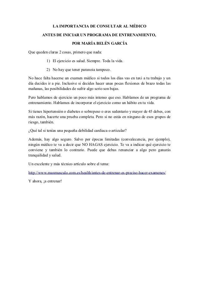 LA IMPORTANCIA DE CONSULTAR AL MÉDICO        ANTES DE INICIAR UN PROGRAMA DE ENTRENAMIENTO,                           POR ...