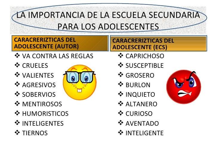 LA IMPORTANCIA DE LA ESCUELA SECUNDARIA PARA LOS ADOLESCENTES <ul><li>CARACRERIZTICAS DEL ADOLESCENTE (AUTOR) </li></ul><u...