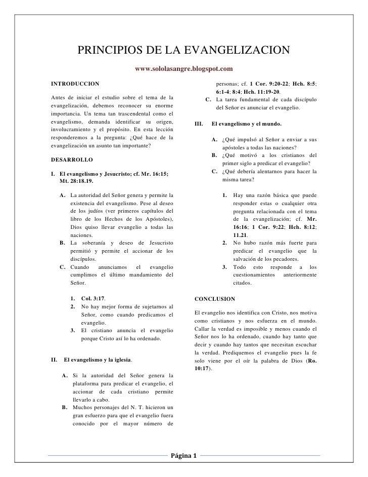 PRINCIPIOS DE LA EVANGELIZACION                                      www.sololasangre.blogspot.comINTRODUCCION            ...