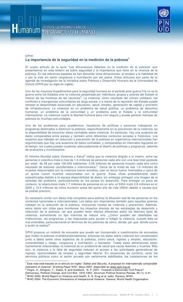 """OPHI:La importancia de la seguridad en la medición de la pobreza1El cuarto artículo de la serie """"Las dimensiones faltantes..."""