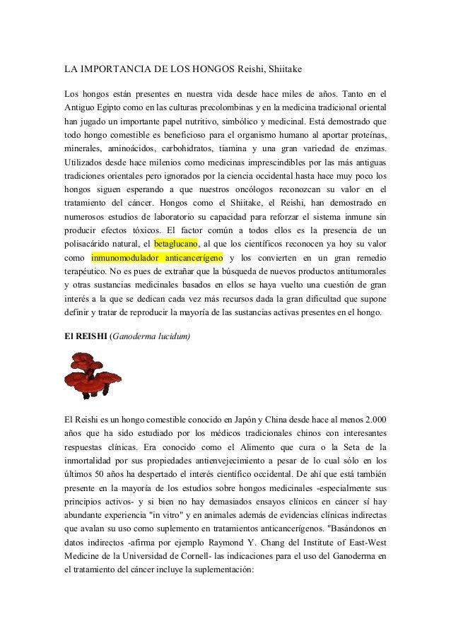 LA IMPORTANCIA DE LOS HONGOS Reishi, Shiitake Los hongos están presentes en nuestra vida desde hace miles de años. Tanto e...