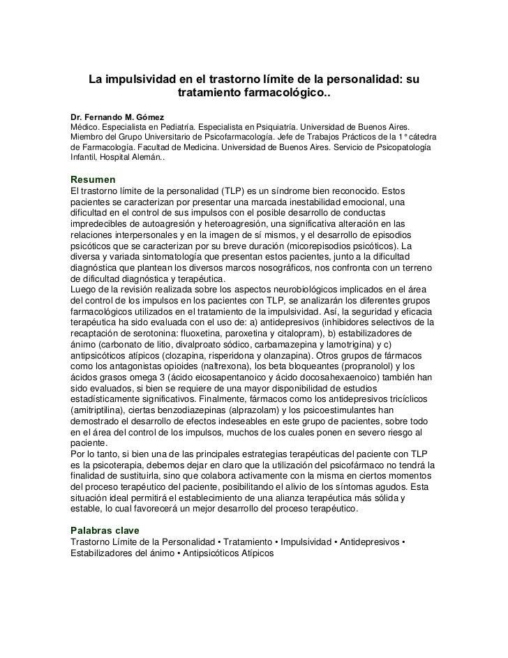La impulsividad en el trastorno límite de la personalidad: su                   tratamiento farmacológico..Dr. Fernando M....