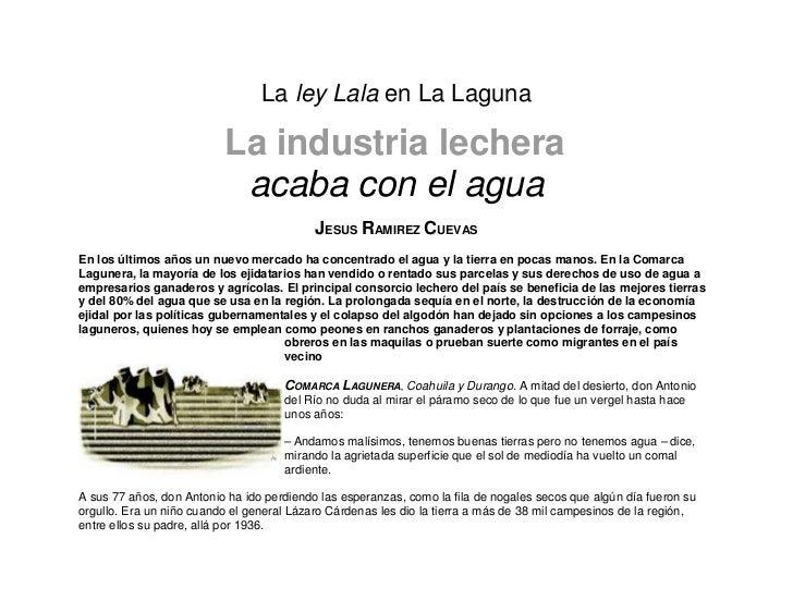 La ley Lala en La Laguna                          La industria lechera                           acaba con el agua        ...