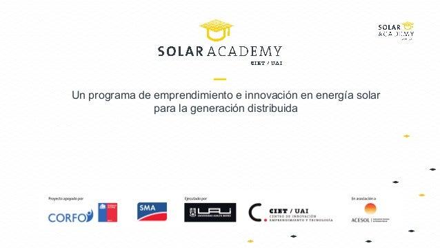 Un programa de emprendimiento e innovación en energía solar para la generación distribuida