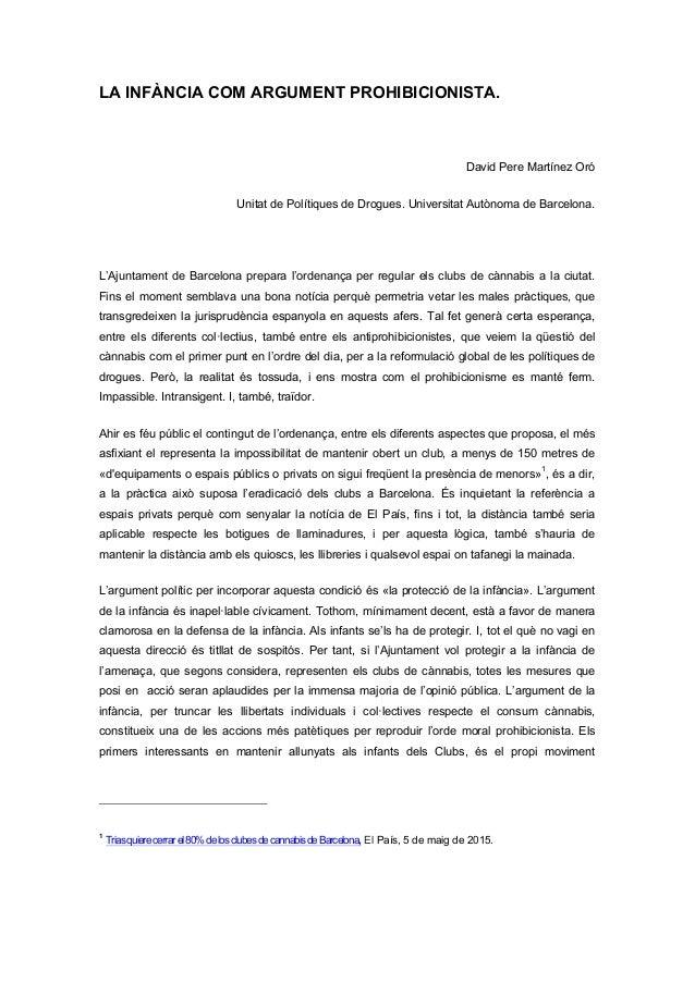 LA INFÀNCIA COM ARGUMENT PROHIBICIONISTA.    David Pere Martínez Oró Unitat de Polítiques de Drogues. Universitat Autòno...