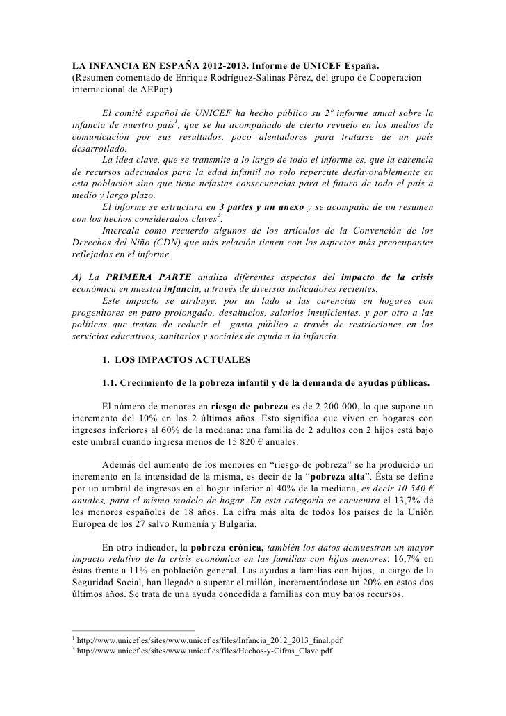 LA INFANCIA EN ESPAÑA 2012-2013. Informe de UNICEF España.(Resumen comentado de Enrique Rodríguez-Salinas Pérez, del grupo...