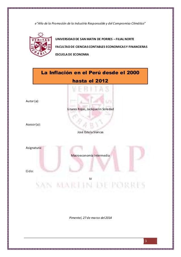 """1 e""""Año de la Promoción de la Industria Responsable y del Compromiso Climático"""" UNIVERSIDAD DE SANMATIN DE PORRES – FILIAL..."""