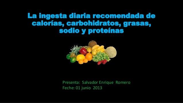 La ingesta diaria recomendada de calorías, carbohidratos