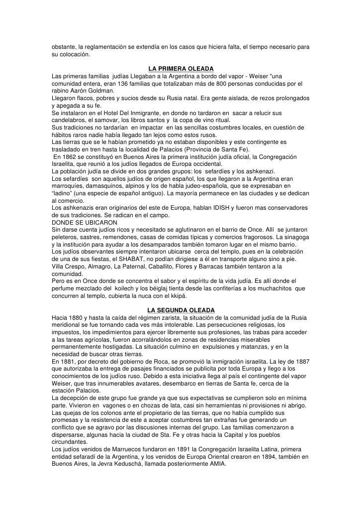 La Inmigracion Judia A La Argentina Desde 1860