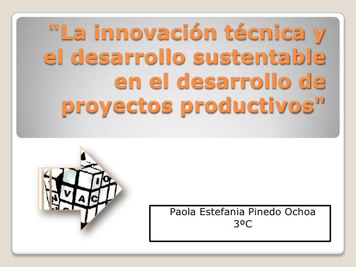 """""""La innovación técnica yel desarrollo sustentable      en el desarrollo de  proyectos productivos""""           Paola Estefan..."""