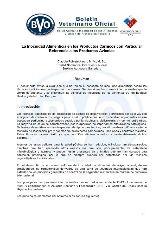 1 - La Inocuidad Alimenticia en los Productos Cárnicos con Particular Referencia a los Productos Avícolas Claudio Poblete ...