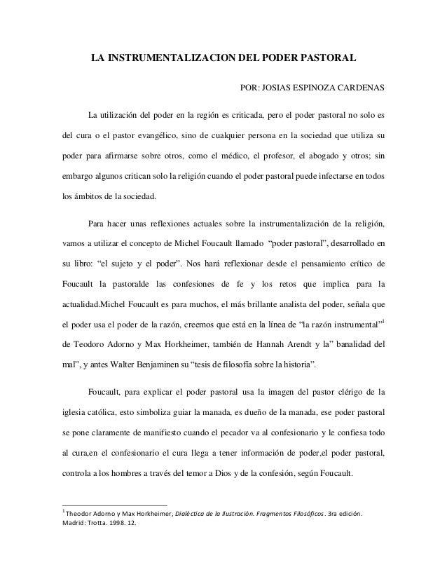 LA INSTRUMENTALIZACION DEL PODER PASTORAL POR: JOSIAS ESPINOZA CARDENAS La utilización del poder en la región es criticada...