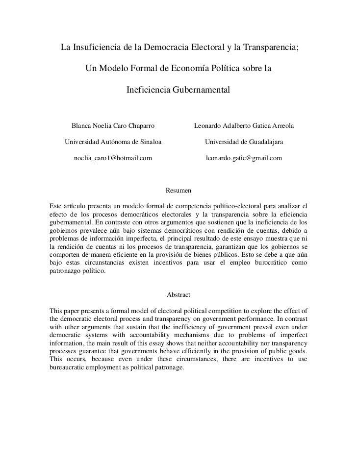 La Insuficiencia de la Democracia Electoral y la Transparencia;             Un Modelo Formal de Economía Política sobre la...