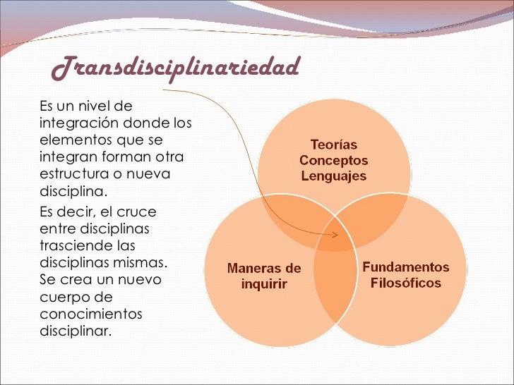 Transdisciplinariedad <ul><li>Es un nivel de integración donde los elementos que se integran forman otra estructura o nuev...